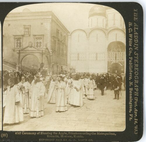 RUSSIA, Ceremony of Blessing the Apple, Moscow--H.C.White Stereoview #38