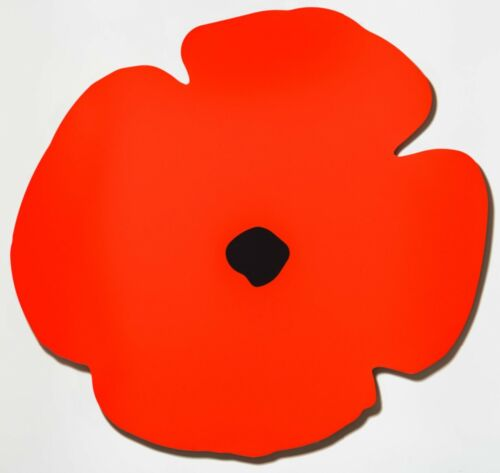 DONALD SULTAN 'Red Wall Poppy' SIGNED Ltd. Ed. Shaped Aluminum Sculpture/ Print