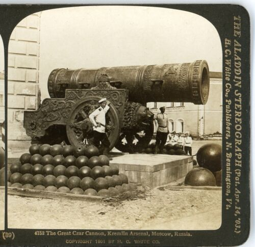 RUSSIA, The Great Czar Cannon, Kremlin Arsenal, Moscow--H.C.White Stereoview #39