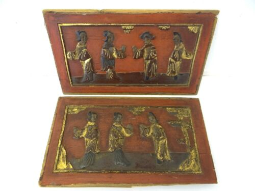 Two Antique Old Red Gold Carved Chinese China Furniture Panels Wall Art