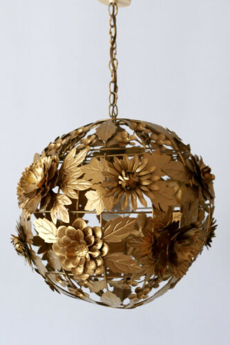 AMAZING Mid Century Modern GILT METAL Hanging Light PENDANT LAMP Dandelion 1960s