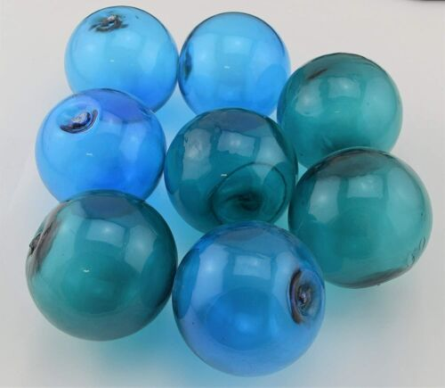 8 Pcs Turquoise and Light Blue Decorative Reproduction Blown Glass Fishing Ball