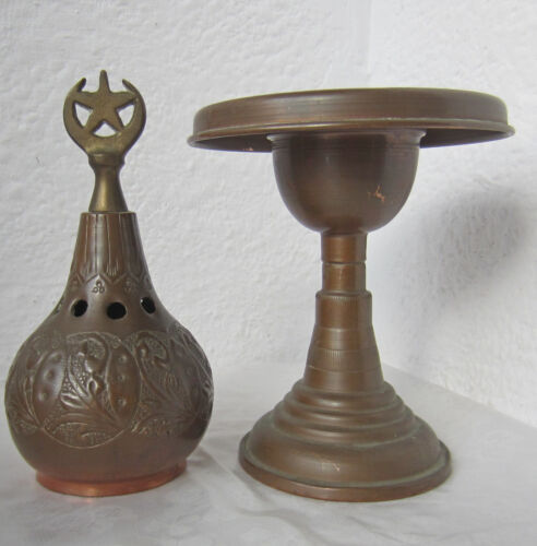 """11+"""" antique vintage islamic turkish Copper candle holder candlestick star moon"""