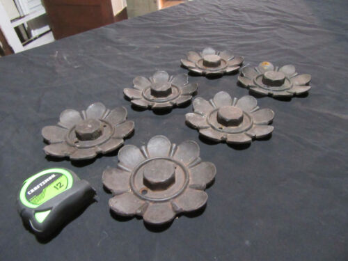 ~ 6 SMALL ANTIQUE CAST IRON FLOWERS ~ 5 INCHES ~ ARCHITECTURAL SALVAGE