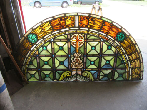 ~ ANTIQUE STAINED GLASS CHURCH WINDOW ~ 68.5 X 33.5 ~ ARCHITECTURAL SALVAGE ~