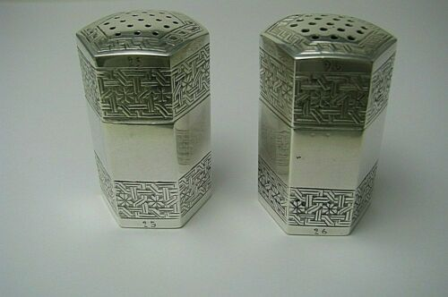ISLAMIC ARABIC SILVER SALT & PEPPER SHAKERS Middle East ca1900s No Mono