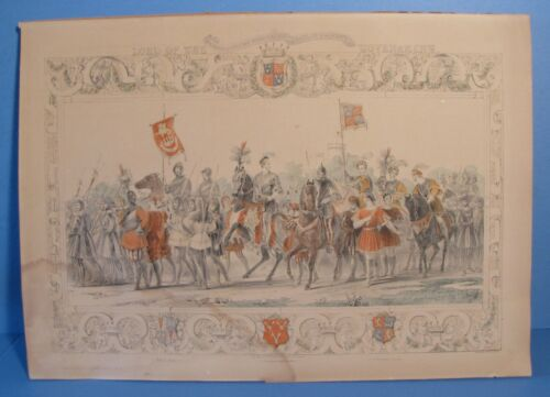 1843 Print Colnaghi & Puckle London Procession of the Lists Eglinton Jousts
