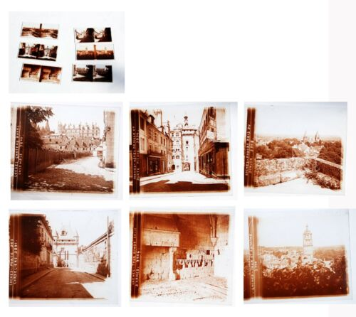 1900 Loches FRANCE 6 Antique GLASS stereoviews Stereoscope 3-D photographs 6x13