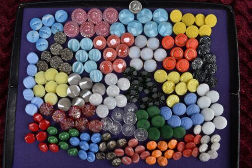 203 pcs LOT OLD CZECH  VINTAGE GLASS BUTTONS