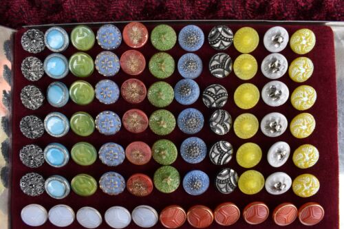 77 pcs LOT OLD CZECH  VINTAGE GLASS BUTTONS 18mm - 3/4""