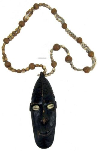 Papua New Guinea PNG Necklace Mask Pendant Cowrie Shell Eyes Seed Pod Beads 54cm