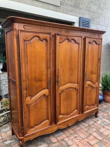 Antique French Country Wardrobe Armoire 3 Door Hanging Rod Shelves Carved Oak