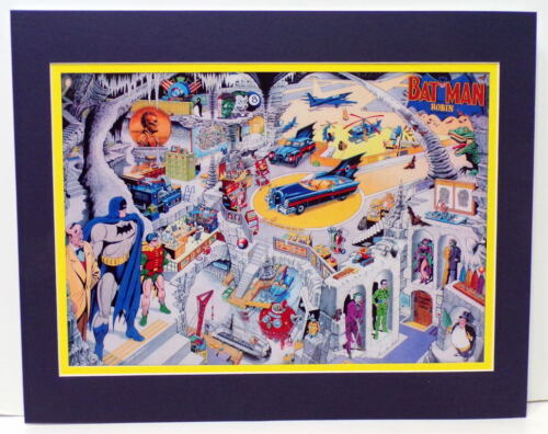 SECRETS Of The BATCAVE COLLAGE PRINT Professionally Matted Batman Dick Sprang
