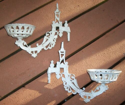 PAIR Lot 2 Vtg VICTORIAN CAST IRON Wall Mount OIL LAMP SCONCE Holder SWING ARM