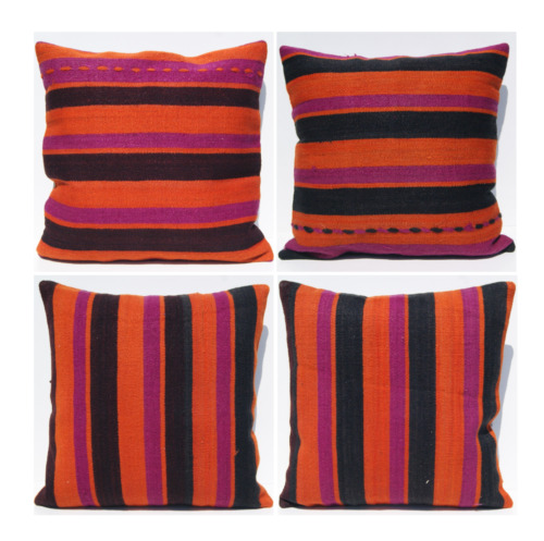 """four Turkish kilim pillows cases handmade wool square striped area rugs 24""""X24"""""""