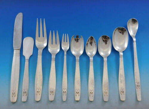 Swedish Modern by Allan Adler Sterling Silver Flatware Set 124 pcs Monogram M