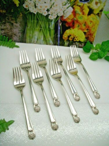 8  International   1847 Rogers Bros   ETERNALLY YOURS   Salad Forks  MONO  1941
