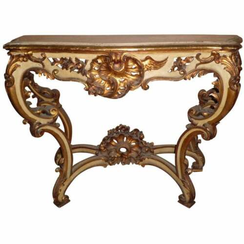 20th century Italy 1910 Regence console, solid wood, with patina and 24-kt gold