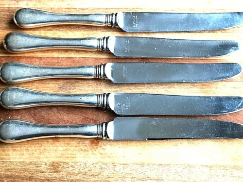 "5 VINTAGE  BIRKS ""OLD ENGLISH"" STERLING HANDLE KNIVES"