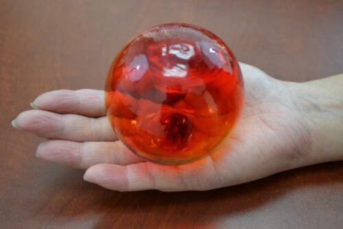 """RED REPRODUCTION BLOWN GLASS FLOAT FISHING BUOY BALL 4"""" SF-508A"""