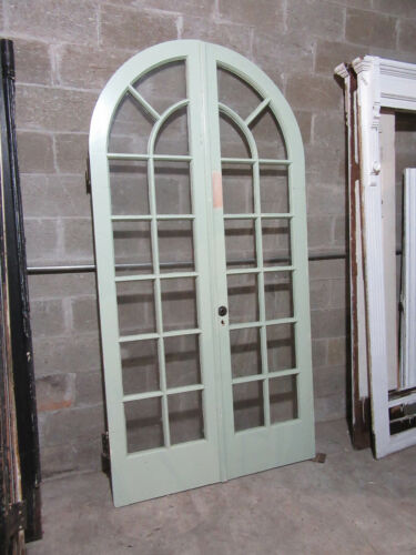 ~ ANTIQUE CIRCLE TOP DOUBLE ENTRANCE FRENCH DOORS  ~ 47 X 92 ~ SALVAGE