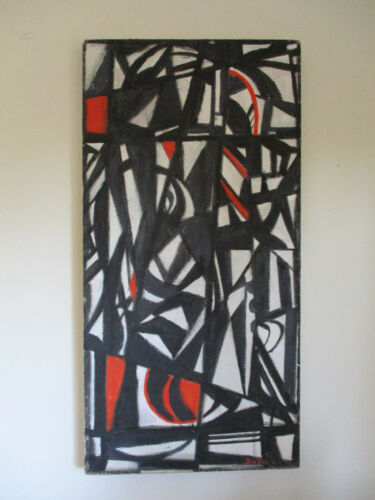 vintage 1955 Vivian De Pinna Abstract African Provincetown Oil Painting MCM RARE