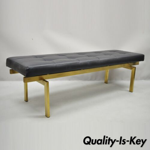 Nuevo Louve Brushed Brass Steel Metal Modern Occasional Bench Black Tufted