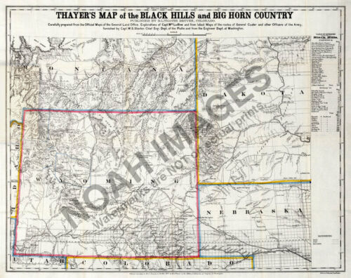 Map of Black HIlls and Big Horn Country c1877 24x30