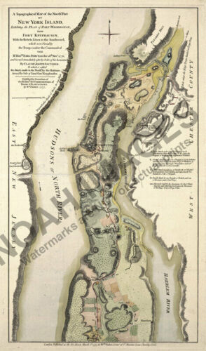Topographical Map of New York Island c1777 14x24