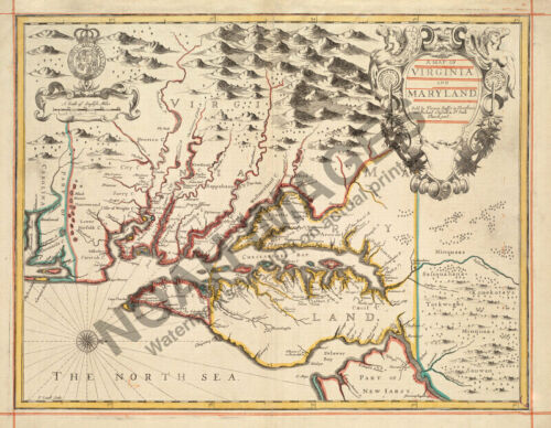 Map of Virginia and Maryland c1676 16x20