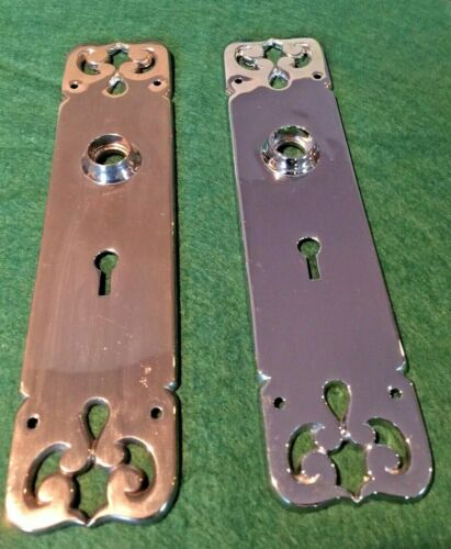 """VTG BEAUTIFUL PAIR 9"""" ANTIQUE READING HARDWARE HEAVY MINT CONDITION BACKPLATES"""