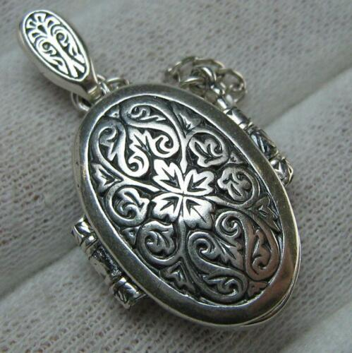 925 Sterling Silver Icon Medallion Locket Reliquary Mother Mary Protecting 560