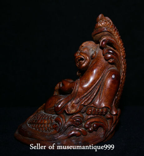 """6.4"""" Rare Chinese Bamboo Root Dynasty Carved Dragon Lohan Arhat Buddha Statue"""