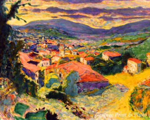 Landscape at Le Cannet by Pierre Bonnard - Town Red Roofs 8x10  Print 0677