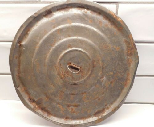 Antique Pot Lid Only Tin Hand Crafted Rusty Decoration Camping Cabin Yard Design