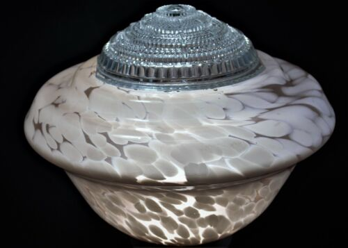 1930s-1940s Pink Empire/Beehive Glass Light Shade with Insert Ceiling Light