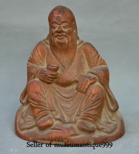 """6.4"""" Old Chinese Bamboo Root Hand Carving Shou Immortal God Man Sculpture"""