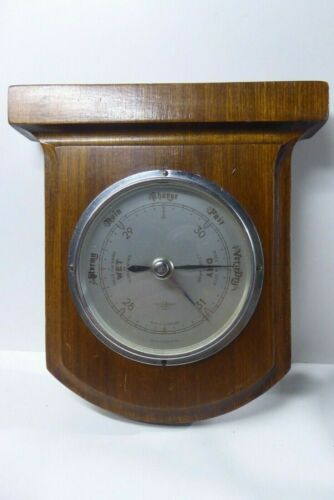 S.D. BAROMETER THERMOMETER WALL MOUNTED WOODEN CASE MADE IN ENGLAND
