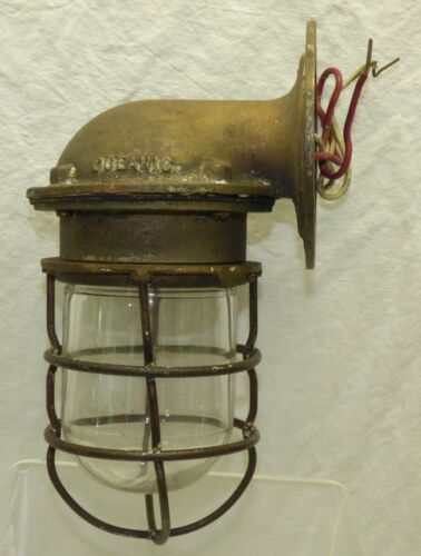 Vtg Bronze Oceanic Safety Ship Light Sconce Nautical Caged Glass Explosion Proof