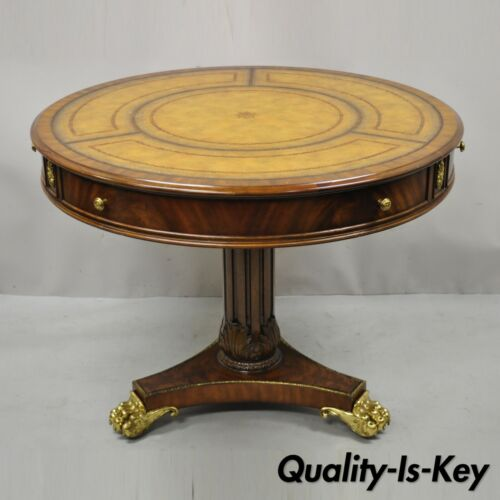 Maitland Smith French Empire Regency Leather Top Brass Paw Feet Center Table