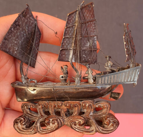 China XXRare Antique Solid Silver War junk with Three  sails