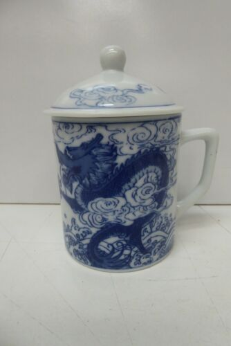 PORCELAIN BLUE WHITE PAINTED LIDDED CHOCOLATE CUP MUG CHINESE DRAGON