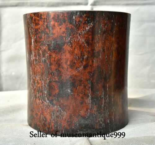 """6"""" Rare Old Huanghuali Yellow Pear Wood Dynasty Official Brush Pot Pencil Vase"""