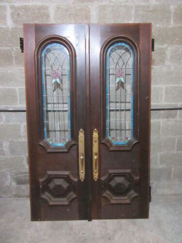 ~ ANTIQUE WALNUT DOUBLE ENTRANCE FRENCH DOORS WITH STAINED GLASS ~ 51 X 82 ~