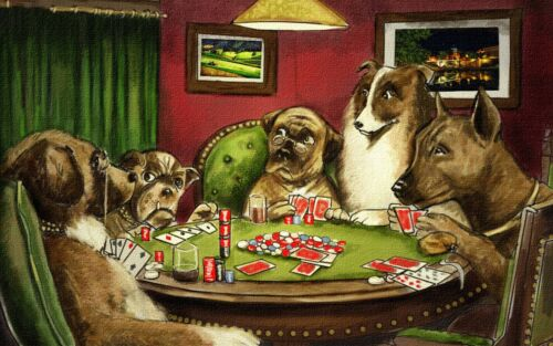 Dog poker Vintage print art poster canvas painting wall décor