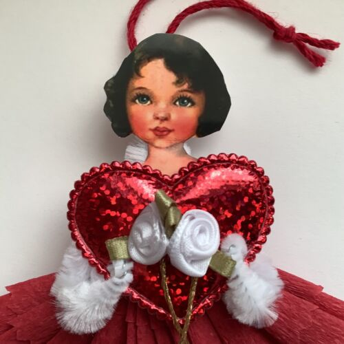 Paper doll vintage ornaments, Valentine Christmas gift tag  item# 27