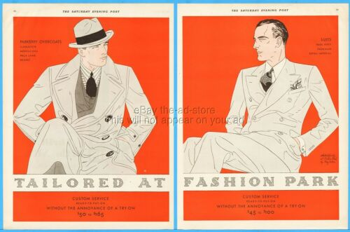 1929 Fashion Park Rochester NY Vintage Men's Overcoat  Suit Fashion Style Art Ad