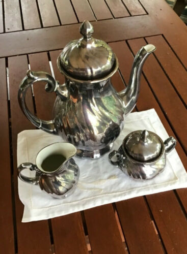 Vintage 1940's WMF COFFEE SET silver metal or silverplate on porcelain
