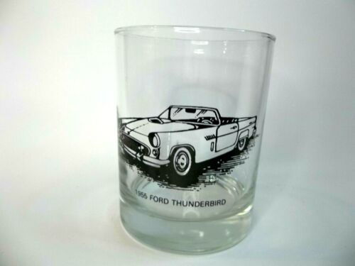1955 Ford Thunderbird Convertible Lowball Rocks Cocktail Whiskey Drink Bar Glass