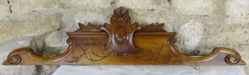 """Antique French Hand Carved Wood Solid Walnut Pediment -  19th - 42"""" H"""